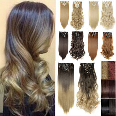 Ombre Full Head Clip in Hair Extensions 145Gr Thick Straight as Human AU Stock