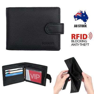 RFID Blocking NEW LEATHER Mens Black Bifold Wallet Coin Purse Credit Card Holder