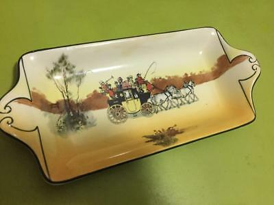 Rare Old ROYAL DOULTON Series Ware Sandwich Plate. COACHING DAYS English Pottery
