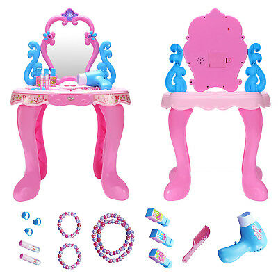 Girl Pink Plastic Children Kids Make Up Mirror Makeup Table Fairy Tales Toy  Set