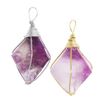 Woman Amethyst Energy Crystal Stone Pendants Making Necklace Accessories