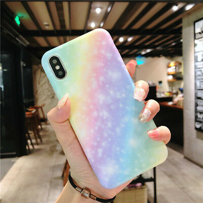 Phone Case for iphone XS MAX 6s 7 8 plus  Bling Rainbow Pattern Soft Back Cover