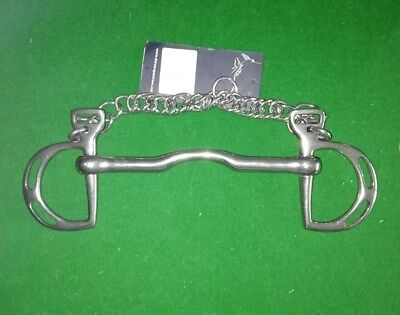 """Kimblewick Bit Size 6 1/2"""" With Two Slots And A NewCurb Chain"""