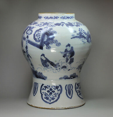 Antique Dutch delft blue and white baluster vase, 18th Century