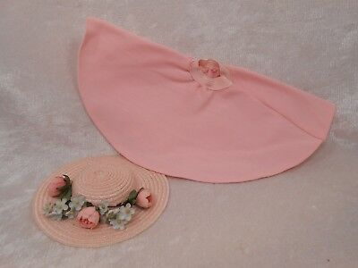 Vintage Madame Alexander 1950's LISSY Gorgeous Pink Flowered Hat and Pink Skirt