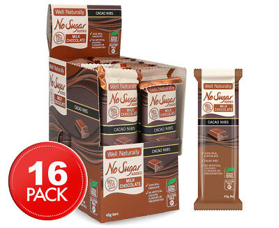 16 x Well Naturally No Sugar Added Milk Chocolate Cacao Nibs Bars 45g