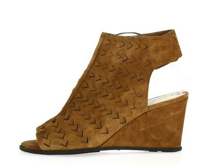 1c4668f0aa4 VIA SPIGA LEATRICE 226787 cognac brown suede ankle strap wedge sandals sz.  10 M