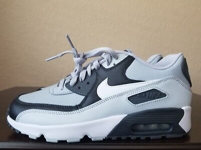 buy online 9a590 29d55 NEW Nike Air Max 90 Leather (GS) Big Kids Shoes Grey White 833412