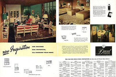 Drexel Furniture Inspiration Collection MID CENTURY MODERN Living Room 1951 Ad