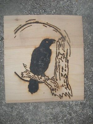 Raven Pyrography on Reclaimed wood