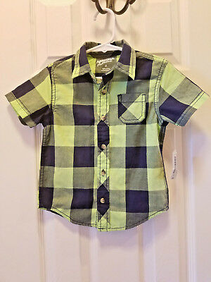 New Arizona Button Down Plaid Dress Shirt Toddler Boys Size 2T Short Sleeve