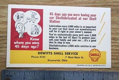 OLD SHELL DEWITTS SERVICE post card nos 1957 GREENWICH,OHIO .02 cent postage