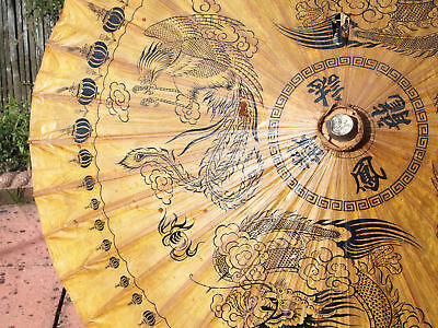 Oriental Parasol bamboo and rice paper vintage umbrella 1950s Christmas Gift