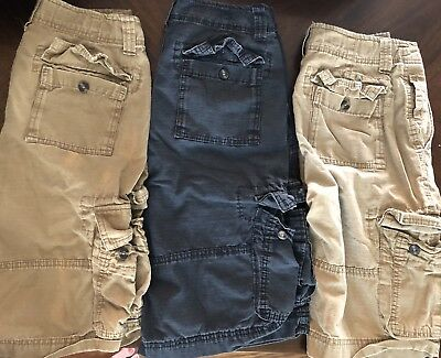 Lot of 3 Mossimo Jeans Cargo Shorts Mens Teen Boys size 26 Tan & Blue