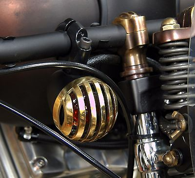 "Rodder Brass Grilled Lens Covers Pair Harley Fxstd Deuce Style 2.4"" Turn Signals"