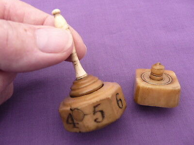 Two Antique Vegetable Ivory Teetotum Spinning Tops / Counters / Scorers