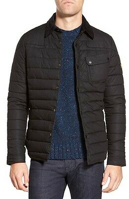 Barbour Quilted Waxed Cotton Shirt Jacket, Black, Large, $365 Retail