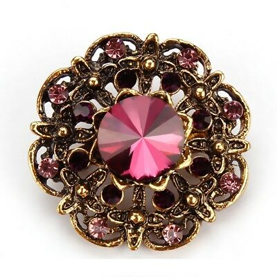 Purple Round Floral Alloy Bouquet Eight Crystals Pin and Brooch