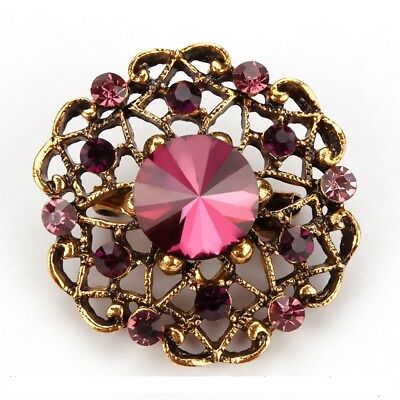 Purple Hollow Round Alloy Bouquet Crystal Pin and Brooch