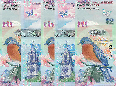 LOT, Bermuda 2 Dollars (2009/2013) p57 x 5 PCS UNC