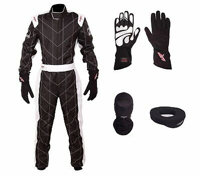 LRP Adult Kart Racing Suit Black-White CIK/FIA Level 2 Rated Whole Set,UK Seller