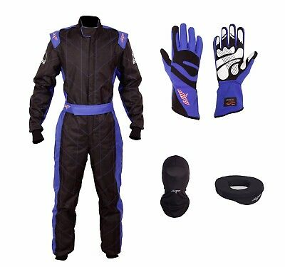 LRP Adult Kart Racing Suit Black-Blue CIK/FIA Level 2 Rated Whole Set, UK Seller