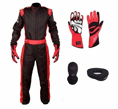 LRP Adult Kart Racing Suit Black-Red CIK/FIA Level 2 Rated Whole Set, UK Seller