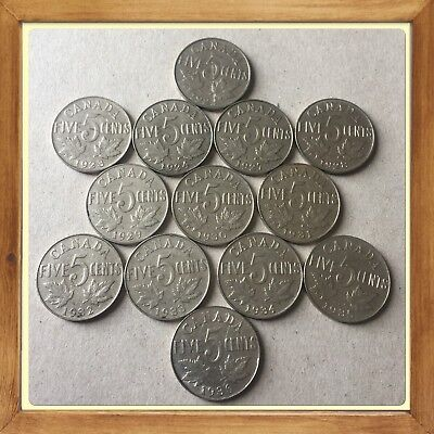 Lot Of 13 King George 1922 To 1936 Canada five cent Canadian nickels Coins #1225