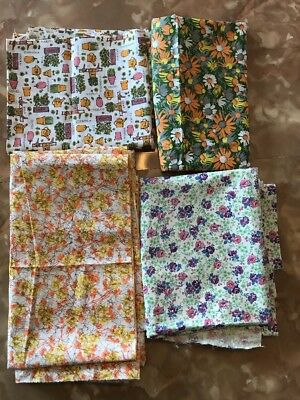 Lot of 4 Vintage Retro Groovy Fabrics, Florals & Abstract, Over 8 Yards Total