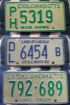 SET OF 3 older retro AMERICAN LICENSE LICENCE NUMBER PLATES #3oldies