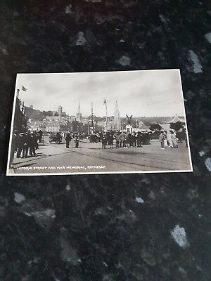 Victoria street  and war memorial rothesay real photo c1900 plenty going on