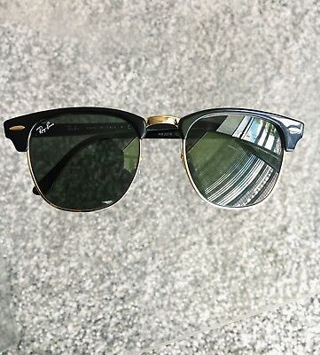 Ray Ban Clubmaster 3016 W0365 Black Frame Green G15 Lens 49mm with Case c1c6522148e7