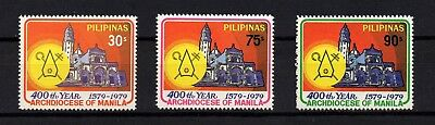 Philippines, Scott # 1417-1419, Set Of 3 Manila Cathedral, Archdiocese Of Manila