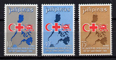 Philippines, Scott # 1020-1022, Set Of 3 League Of Red Cross Societies, Map, Mnh
