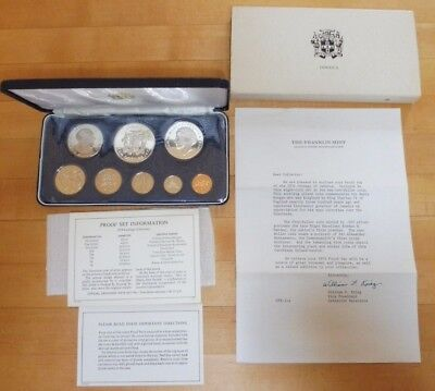1974 Jamaica 8 Coin Proof Set .925 Silver $10 and $5 Coin set - Franklin Mint