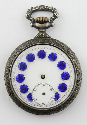 Antique Fancy 4J Pocketwatch W/ Enameled Dial & Engraved Case Runs Nr #1706
