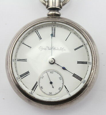 Vintage Elgin 18S Pocketwatch W/ Engraved Train Coin Silver Case Running Nr#1661
