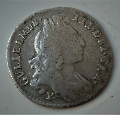 "1696 Y William Iii Silver Sixpence ( Lovely Detailed Scarce Coin) ""y"" York Mint"