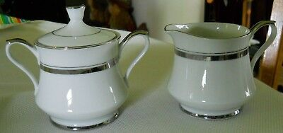 Vintage Empress China Crown Platinum 1836 Sugar And Creamer Set