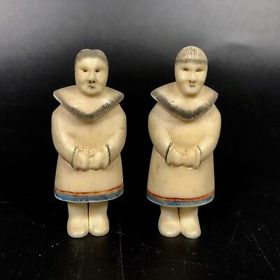 Pair of Antique Inuit Bone Carvings Ivory Colored ~ Eskimo #J