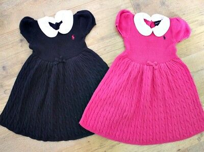 Ralph Lauren Baby Girls Bundle Pink Navy Blue X2 Tunic Dress Age 18-24 M / 24 M