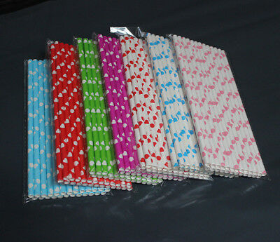 25/100Pcs Love Heart Paper Straws Wedding Party Disposable Drinking Tablewares