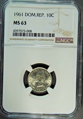 1961 Dominican Republic 10 Cent Ngc Ms-63