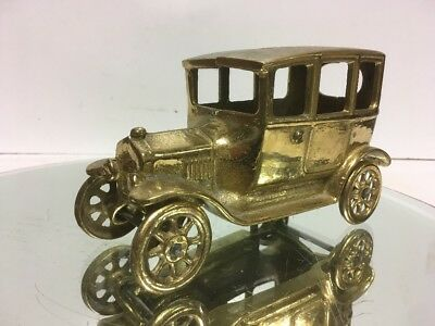 LG. Vintage Antique SOLID cast BRASS FORD MODEL A Toy Car iron Brass #8