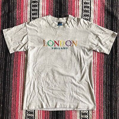 Vintage Screen Stars Rainbow Embroidered London Spellout T Shirt Mens M