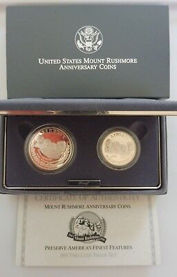 1991-S Mount Rushmore 50th Anniversary 2-coin set - Silver