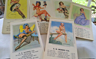 VINTAGE LOT ~ 70's PINUP GIRLS 6 PADS ~ AD/CALENDARS S.G.MORRIS Co OH, PA & WV