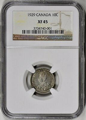 Canada 1929 10C Ngc Xf 45 - Both Surfaces Toned - A Very Nice Coin