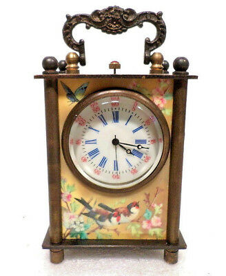 Beautiful Panel Side Mini Sweep Second Wind Up Carriage Clock