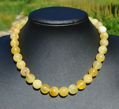 40.57gr Antique Genuine Egg Yolk Honey Tiger Baltic Natural Amber Beads Necklace